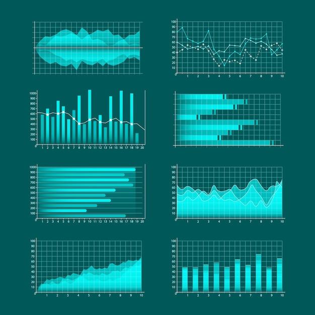 ビジネスグラフのセット。インフォグラフィックと診断、チャートとスキーム。トレンドライン、列、市場経済情報の背景。金融資産の分析と管理。 Premiumベクター