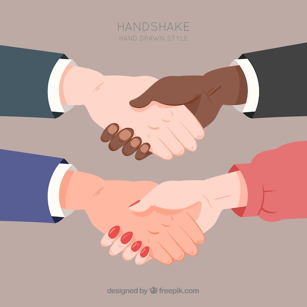 Set of business handshake in flat style