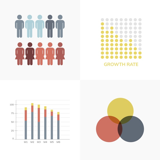 Набор бизнес-инфографических векторов Бесплатные векторы