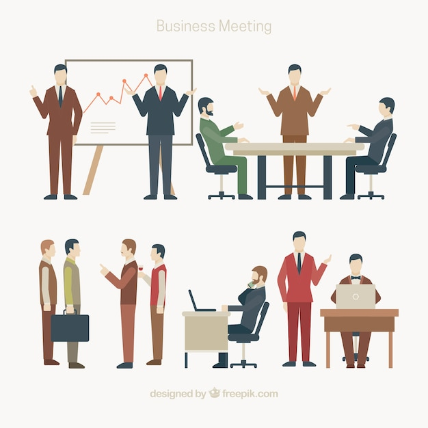 Set of business meeting scenes in flat\ design