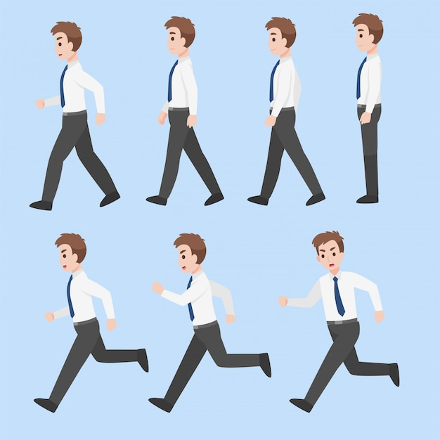 Набор бизнесменов дизайн персонажей в различных действиях мультфильм плоский бизнес-концепция. Premium векторы