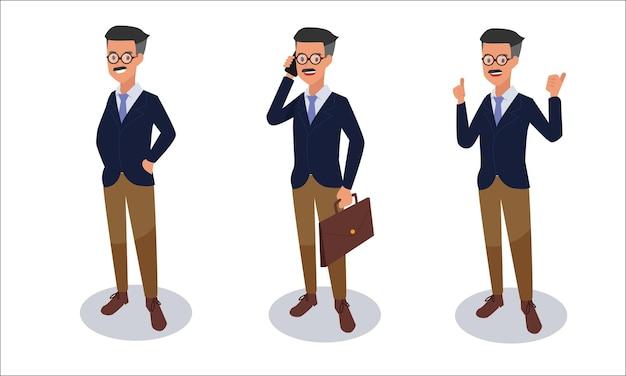 Набор бизнесменов символов иллюстрации Бесплатные векторы