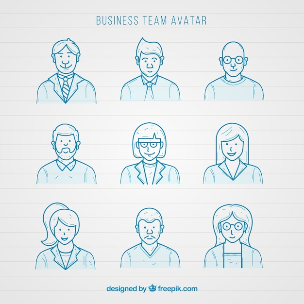 Set of businessmen avatars sketches  Free Vector