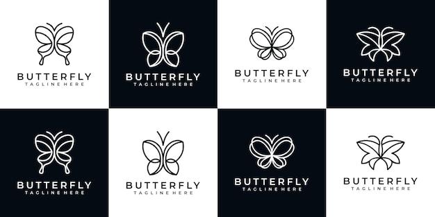 Набор бабочек минималистский дизайн логотипа Premium векторы