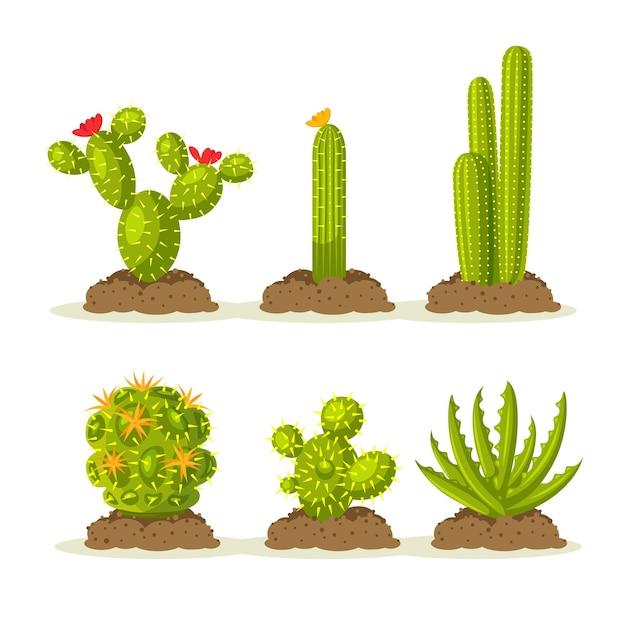 砂と地面、土の間で砂漠のサボテンの植物のセット Premiumベクター