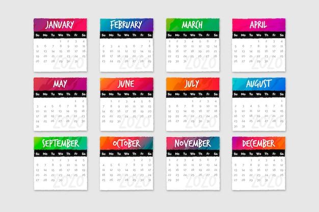 Набор календарей с месяцами и днями Бесплатные векторы