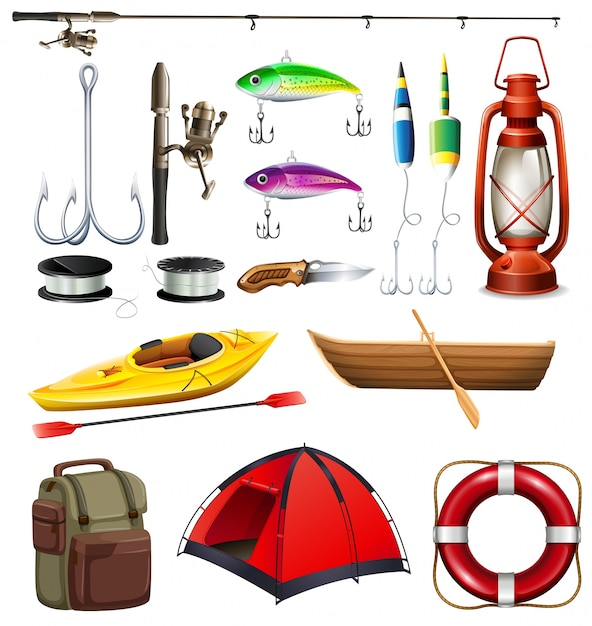 Set of camping and fishing equipment\ illustration