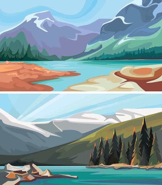 カナダの風景のセットです。山の中のターコイズブルーの湖。 Premiumベクター