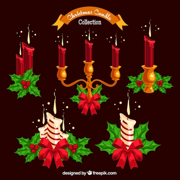 Set of candles with christmas decoration vector free for 7 candle christmas decoration