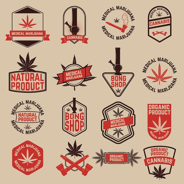 大麻ラベルのセット。医療用マリファナ、ボンショップ。ロゴ、ラベル、エンブレム、記号、ブランドマークのデザイン要素。 Premiumベクター