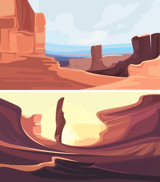 赤い山と峡谷のセット。美しい自然の風景。 Premiumベクター