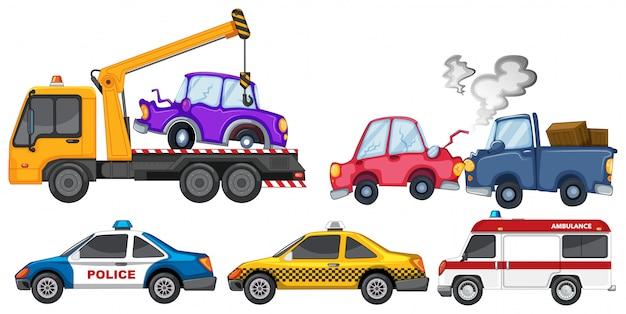 Набор автокатастрофы и полицейской машины Бесплатные векторы