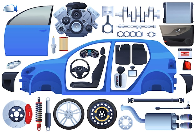 車の部品のセット。ボディ、シャーシ、エンジン、ホイール、サスペンション、インテリア、シート。 Premiumベクター