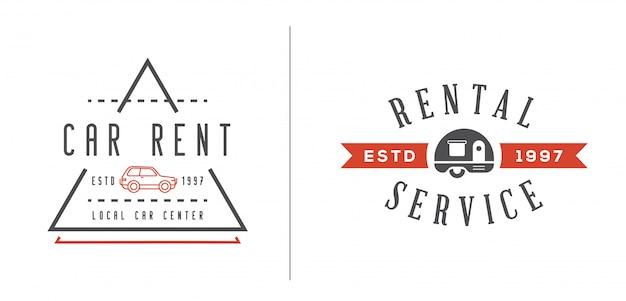 レンタカーサービス要素のセットは、プレミアム品質のロゴまたはアイコンとして使用できます Premiumベクター