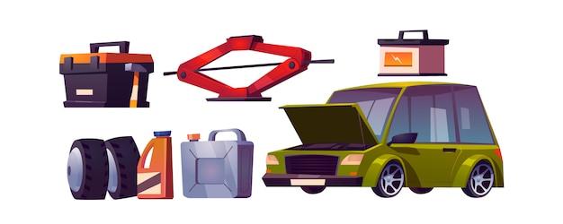 車の修理工場、自動車整備のセット 無料ベクター