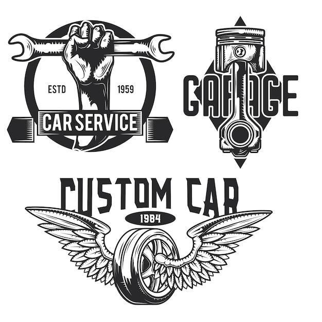 자동차 서비스 엠블럼, 라벨, 배지, 로고의 집합입니다. 무료 벡터