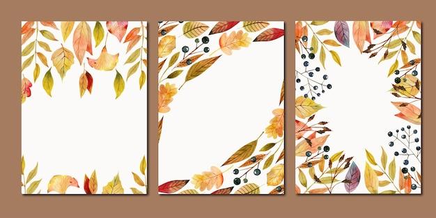 Набор шаблонов карт, рамки акварели падают красные и желтые листья и ягоды Premium векторы