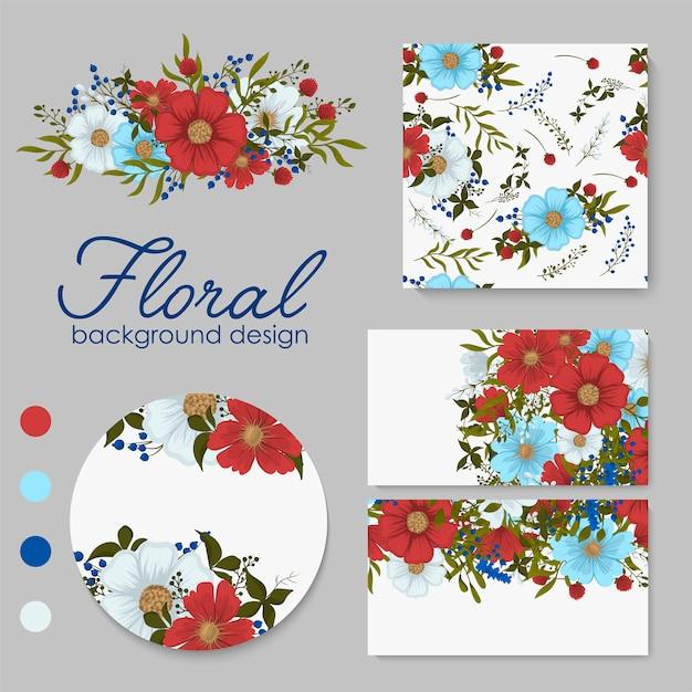 花、葉を持つカードのセット。結婚式の飾り。花の招待、ポスター、招待。 無料ベクター