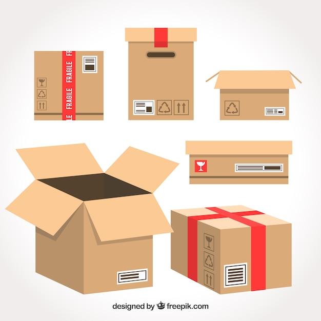 Набор картонных коробок для транспортировки Premium векторы