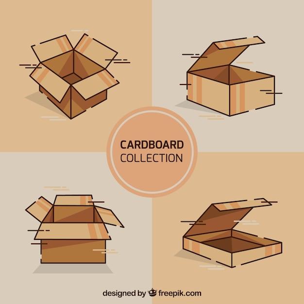 Набор картонных коробок для транспортировки Бесплатные векторы