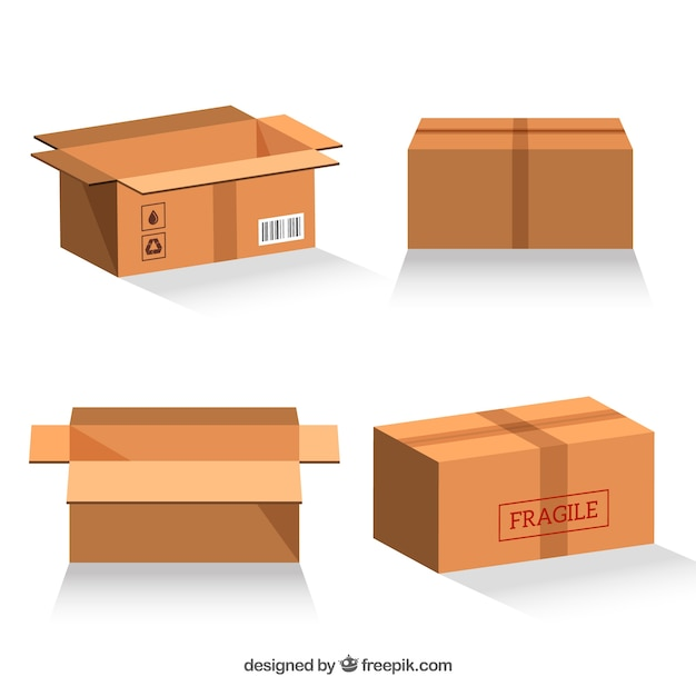 Set of cardboard boxes to shipping Vector   Free Download