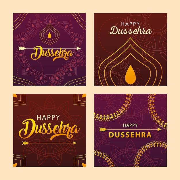 인도 축제 Dussehra 축하 카드 세트 프리미엄 벡터