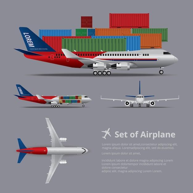 Набор грузового корабля самолета изолированных иллюстрация Premium векторы