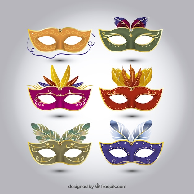 Set Of Carnival Masks With Different Designs Vector Free