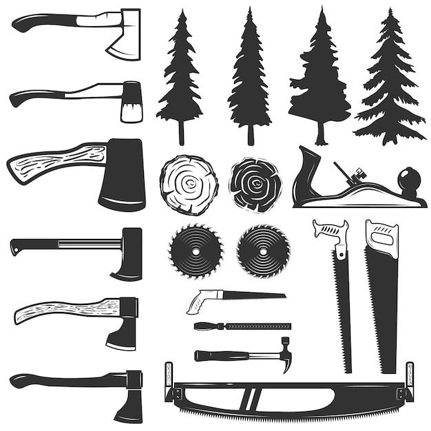 大工道具、木や木のアイコンのセットです。ロゴ、ラベル、エンブレム、記号の要素。図 Premiumベクター