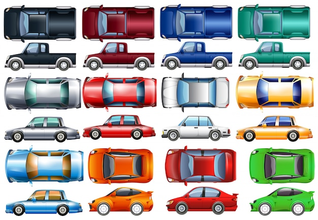 Set of cars and trucks in many colors\ illustration