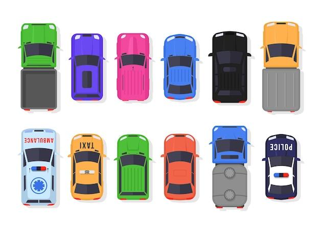 フラットスタイルの車とトラックの上面図のセット。市内を走行する車両とサービス輸送。分離されたリアルな車のデザイン。 Premiumベクター