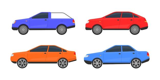 さまざまな色の車のセット。さまざまな自動車モデルの大規模なセット。都市、都市の車や車両の輸送。 Premiumベクター