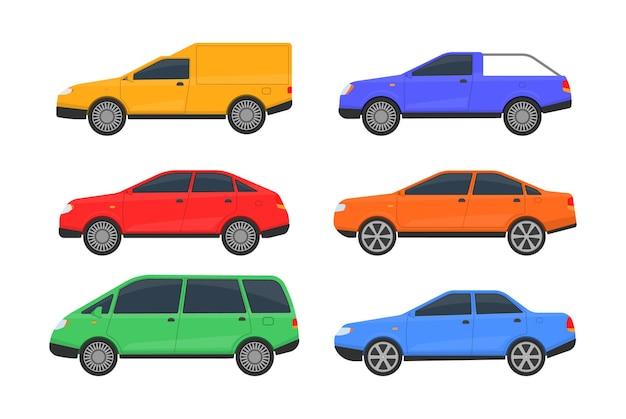白で隔離されるさまざまな色の車のセット Premiumベクター