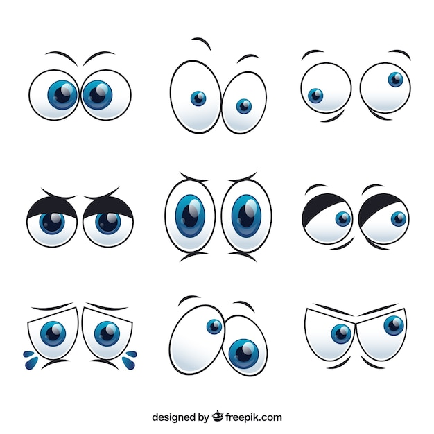 Cartoon Characters Eyes : Set of cartoon characters eyes vector free download