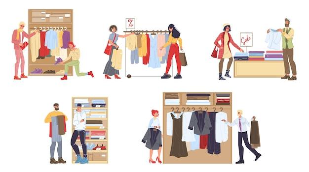 衣料品店の漫画のキャラクターのセット-さまざまなポーズ、感情、商品、ショッピング販売コンセプト Premiumベクター