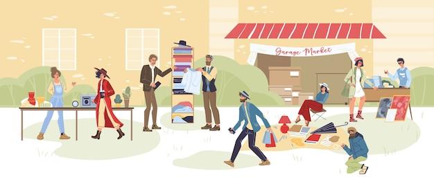 漫画のキャラクターの屋外ショッピングのセット-さまざまなポーズ、感情や商品、ガレージセールのコンセプト Premiumベクター