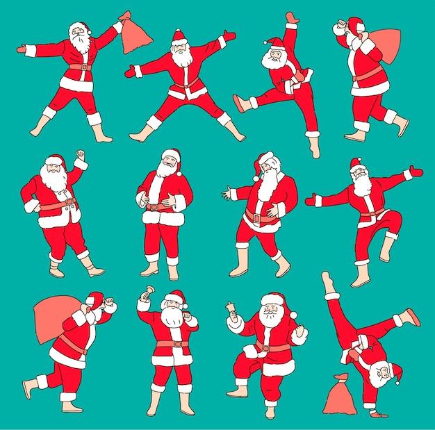 색상 배경에 고립 된 만화 크리스마스 삽화의 집합입니다. 재미있는 행복 산타 클로스 캐릭터 선물, 선물 가방, 춤. 프리미엄 벡터