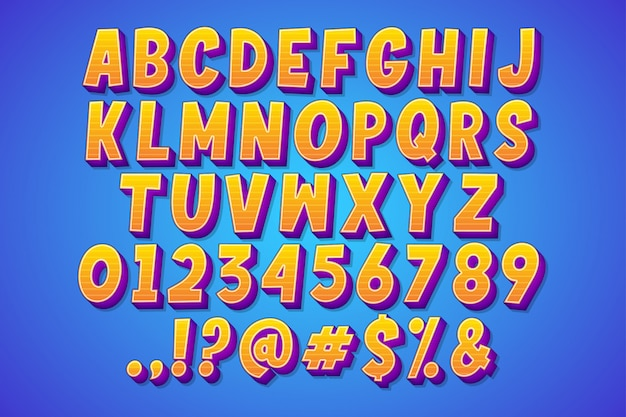 만화 만화 글꼴 집합 무료 벡터