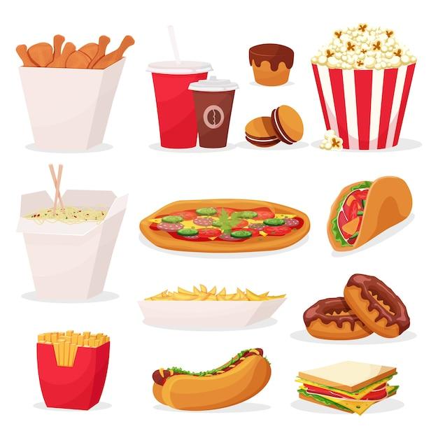Набор иконок быстрого питания мультфильм на белом фоне Premium векторы