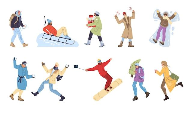 冬の活動を行う漫画フラットキャラクターのセット Premiumベクター