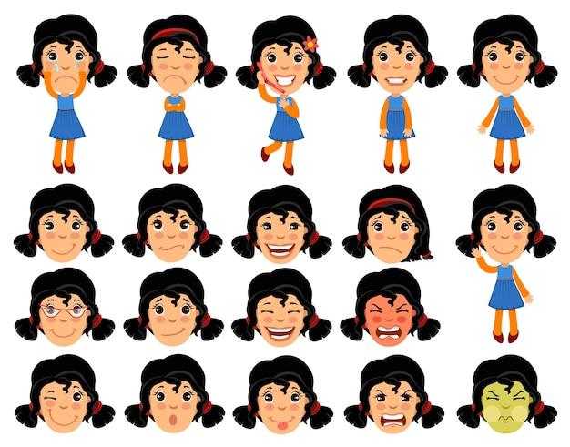 Набор персонажа из мультфильма девушка для анимации. Бесплатные векторы