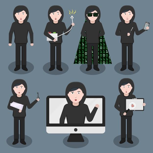 様々なポーズや感情で漫画ハッカーキャラクターのセット。インターネット保護、ハッキング、コーディングの概念。 Premiumベクター