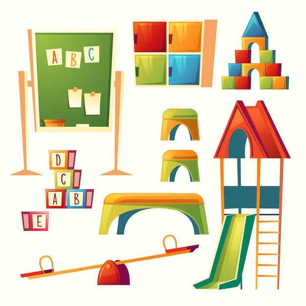Set of cartoon kindergarten, children\ playground. Preschool education