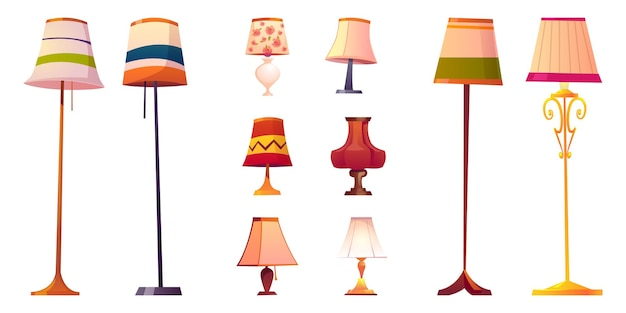 Набор мультяшных ламп, напольных и настольных фонарей с разными абажурами на длинных и коротких подставках. Бесплатные векторы