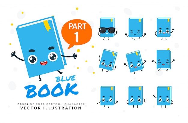 Набор мультфильм позы синей книги. Premium векторы