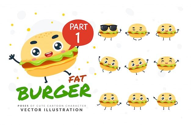 Набор мультфильм позы бургера. Premium векторы