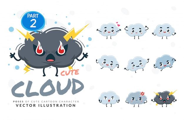 Набор мультфильм позы облаков. Premium векторы