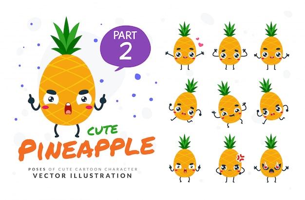 Набор мультфильм позы ананаса. Premium векторы