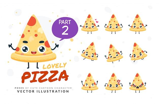 Набор мультфильм позы пиццы. Premium векторы