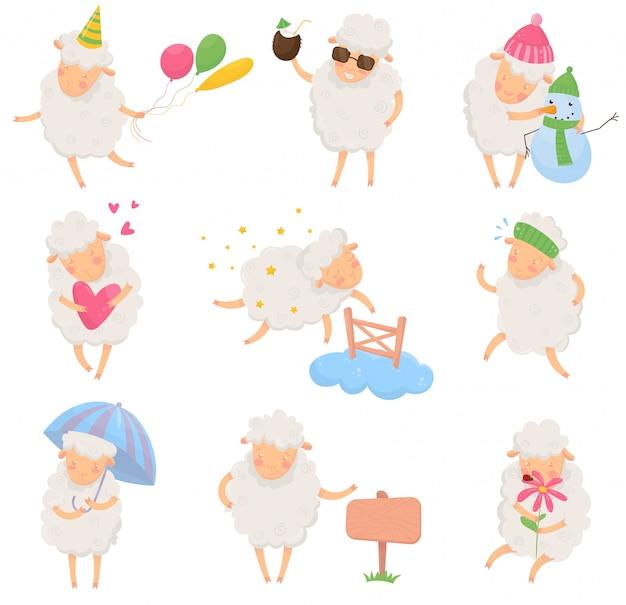 Набор мультфильм овец в разных ситуациях. забавный персонаж домашнего животного с пушистой шерстью. красочный плоский дизайн для открытки, наклейки или детской книги Premium векторы